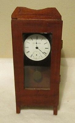 Antique / Vintage Rustic Handmade Wood Doll Furniture Grandfather Clock