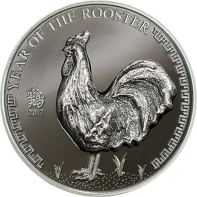 Year of The Rooster 1oz black proof silver coin Mongolia 2017