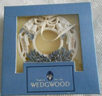 Wedgwood White Jasper 3rd Annual Wreath Xmas Ornament, 1993, in a box