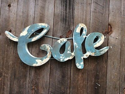 "Retro 3D metal ""CAFE"" Sign  Distressed Turquoise/Cream Farmhouse - Industrial-"