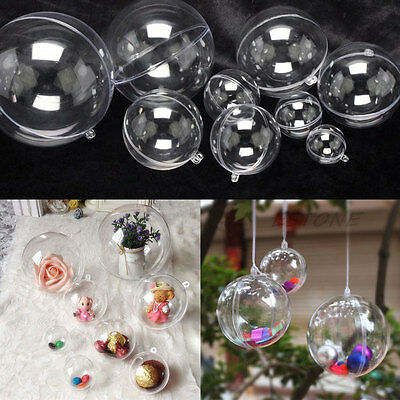 10pcs Plastic Hanging Ball Clear Baubles Xmas Party Home Christmas Ornament Gift