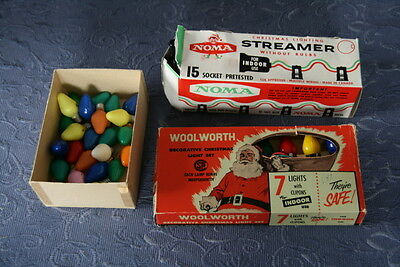 2 boxes vintage Noma & Woolworth Christmas lights