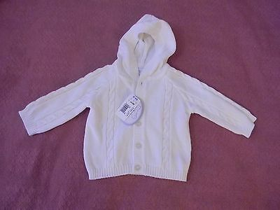 Koala Baby Girls 3 - 6 months White Knitted Hooded Cotton Sweater