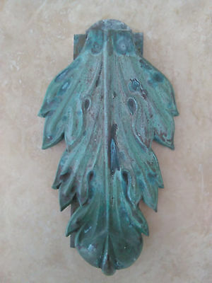 Architectural Salvage Unique Ancantus Leaf Door Knocker Great Patina Beach House