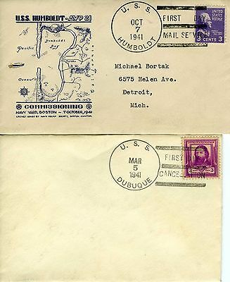 Lot of 2 Naval USS Humboldt USS Dubuque First Day Cancellation