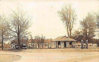 Saco ME Gulf Gas Station Pumps Mayo's Camps Cascade Lunch RPPC Postcard
