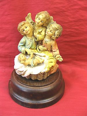 """Angels Baby Jesus Musical Wind-up Turning Figures Song """"Silent Night"""" Italy"""
