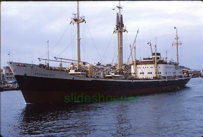 Slide Photo View of Cargo Freighter Ship Archimedes Amsterdam Under Way 1968