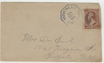 1885 Cover Brookton NY Octagonal Date Stamp SOTN Bullseye Cancel Business Note