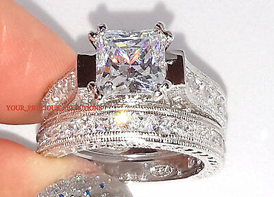 925 Sterling Silver Princess Cut Engagement Wedding Bridal Set Ring Sz 5 6 7 8 9