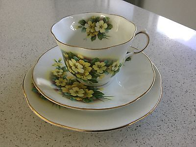 Rosina Bone China Trio  Made In England Queens Yellow Open Flowers