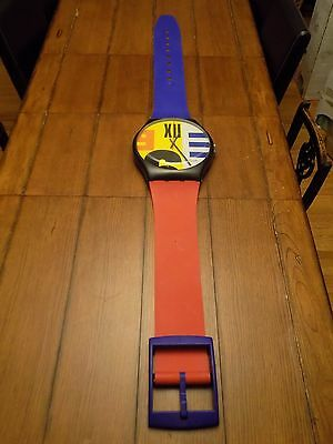 Vintage 1987 SWATCH WATCH MAXI Nine to Six Giant Wall Clock Excellent Working