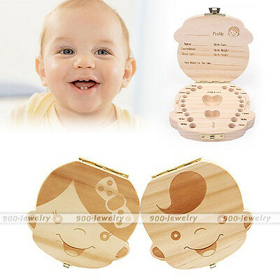 1pc Girl & Boy Milk Tooth Memorable Wooden Collection Box in English/Spanish