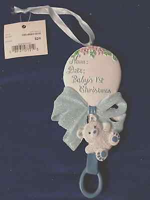 Baby's First Christmas Rattle Personalized Ornament Blue/white