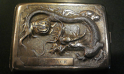 Antique Sterling Silver Cigarette Case With Dragon