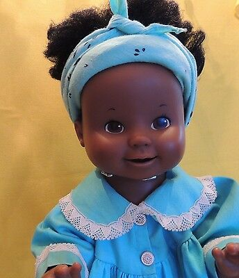 Vintage Ideal Toy Doll 1979 Plastic African American Black Girl B66-Moving Mouth