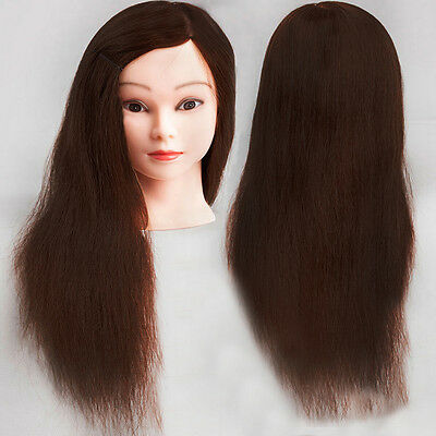 100% Real Human Hair Training Practice Head Mannequin Hairdressing + Clamp UK