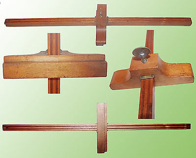 "Vintage 23 1/2"" Adjustable Wood Scribe W/ Laminated Post & Brass Thumb Screw"