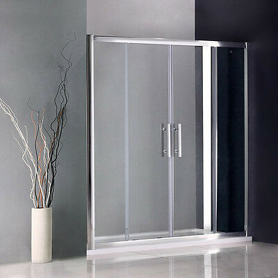 1200x800mm Chrome Sliding Shower Enclosure Double Door and Stone Tray