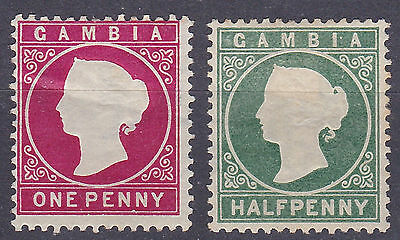 Gambia 1886  1/2d + 1d  mint hinged
