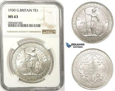 ZM62, Great Britain, Trade Dollar 1930, Silver, NGC MS63