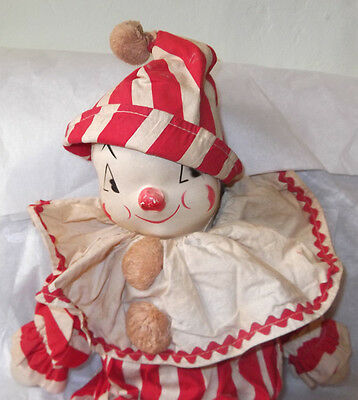 """Adorable Vintage 1950s 20"""" Tagged Gund Soft Stuffed Toy Clown Doll Plastic Face"""