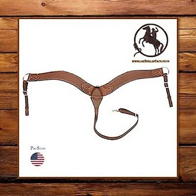 Western Breast Collar ~ Chestnut Tooled Leather