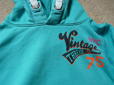 Girls Next Blue Turquoise Cotton Jersey Long Sleeved Hoodie size 10 years