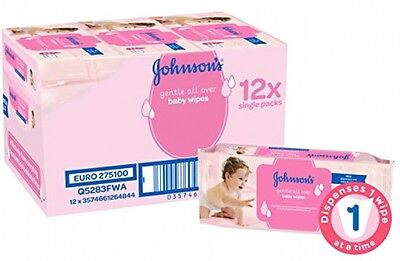Johnson's Extra Sensitive Gentle All Over Baby Cleansing Wet 672 Wipes 12 PACKS