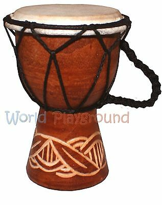 Carved Djembe Drum - Fair Trade West African Drum (Height: 20cm)
