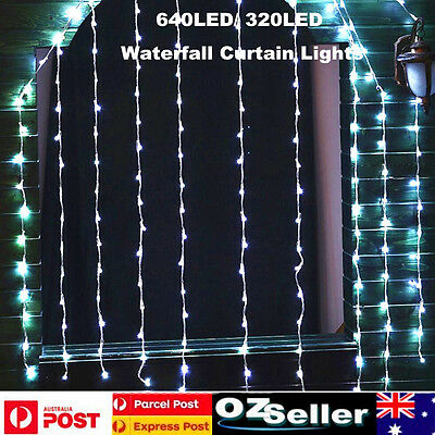 Cold White Waterfall Curtain String Lights Fairy Light Xmas Indoor Outdoor Decor