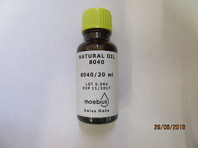 Moebius 8040 Natural Oil 20ml, Ideal For Larger Clocks,New, Yellow Top Bottles