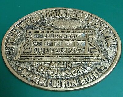 BRASS PLAQUE-- FLEETWOOD TRANSPORT FESTIVAL ---NORTH EASTON HOTEL July 20th 1997