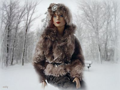 """Winter Is Coming !!! Ooak Faux Fur Very Soft Material With /pants/belt/hat """"16"""