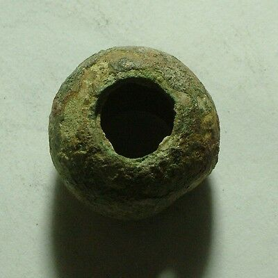 RARE Original ancient Roman lead spindle whorl bead artifact 4 Century AD