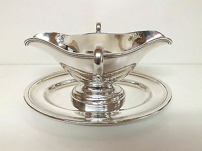 Large Fine Quality Bachmann Wien Silver Plated Double Sauce Boat & Fitted Tray
