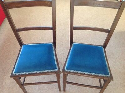 Antique Oak Bedroom/dining Chair With Blue Velvet Upholstered Seat