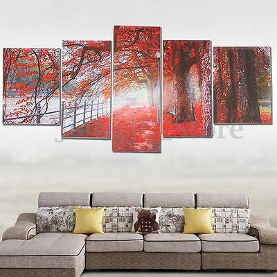 5Pcs Abstract Picture Canvas Painting Art Home Wall Decor Maple Tree Unframed AU