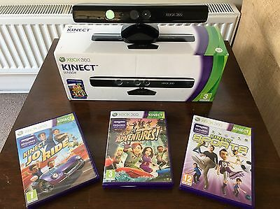 xbox 360 kinect sensor Includes Joy Ride Adventures Sports Mint Used Once