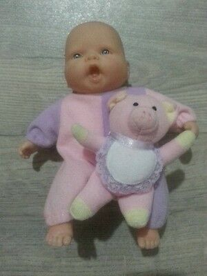 Lovely Miniature Small Berenguer Baby Girl in Pink and Mauve Outfit
