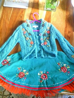 M&S Marks&Spencer girls outfit skirt and cardigan good condition size 3-4 years