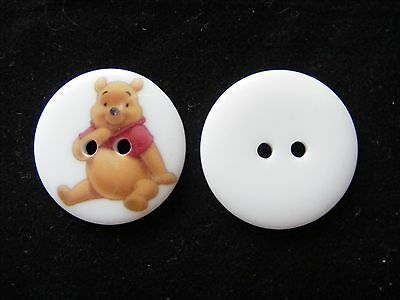 Novelty Pooh Bear Buttons set of 5 22mm - Scrapbooking,Embellishment Craft,Kids