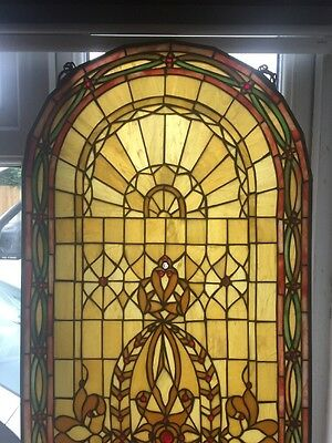 Rare Tiffany Stained Glass Window Period Leaded Antique Wooden Old Reclaimed 1