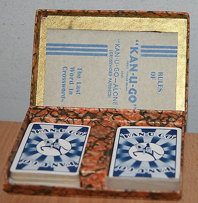 KAN-U-GO Vintage PLAYING CARDS Crossword Patience (Boxed) with Rules 1930's RARE