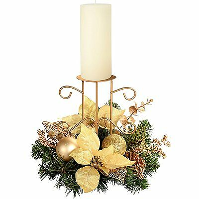 Christmas 22 cm Decorated Table Centre Piece with Single Pillar Candle Holder