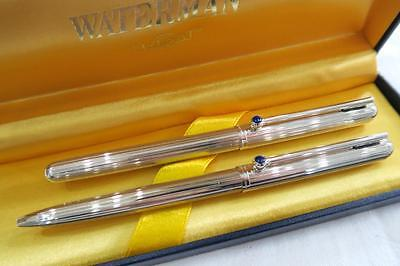"RARE WATERMAN ""FORME RONDE"" GODRON 925 SILVER FOUNTAIN PEN SET NEAR MINT 1980's"