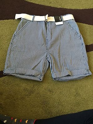 Boys White And Blue Stripy Shorts With Belt Age 12 - 13