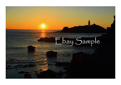 A3 Professional Photo Print Cornwall Beaches - Godrevy Lighthouse Sunset #1