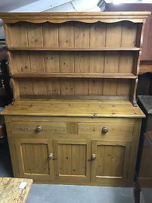 Pine Kitchen Dresser With Drawers And Cupboard Under