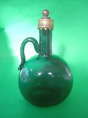 Antique Teal Green Glass Handled Whiskey Jug Bottle with Metal Collar & Stopper